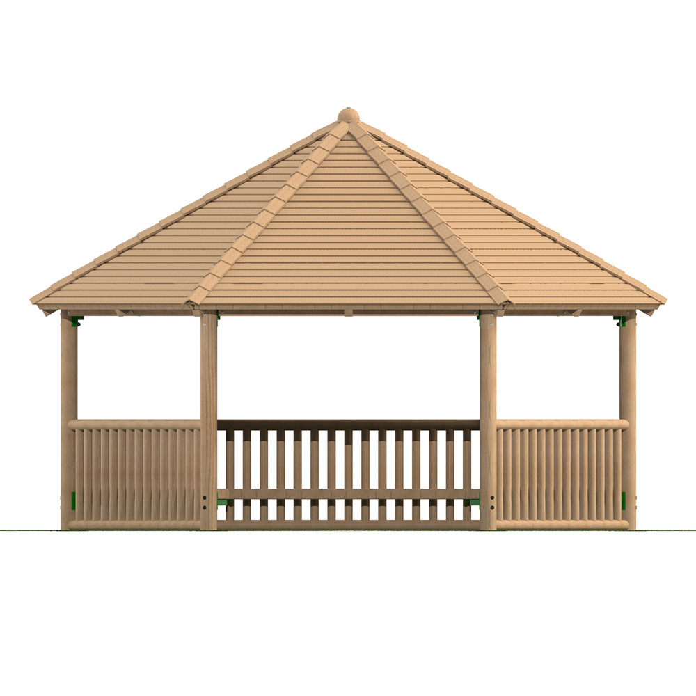 5m Hexagonal Timber Shelter with Seating and Balistrade Sides
