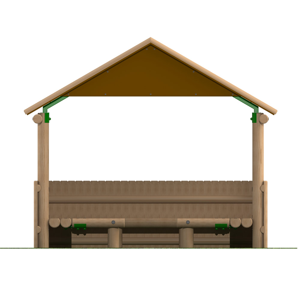 3m x 2.4m Timber Shelter with Seating and Half Clad Sides