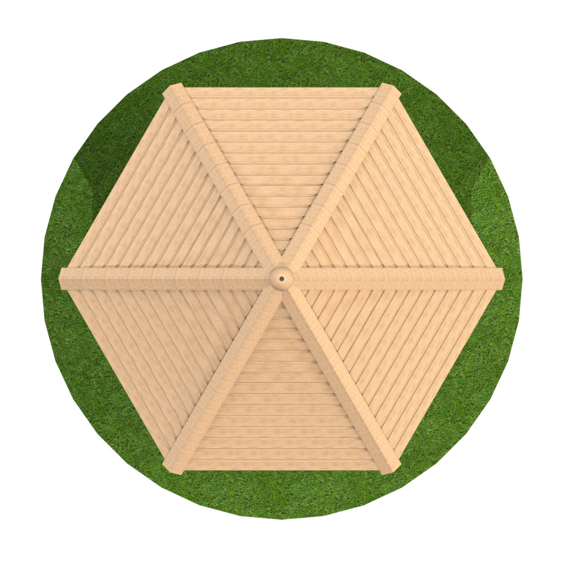 3m Hexagonal Timber Shelter with Seating and Half Clad Sides