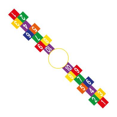 2 Way Hopscotch (using 300mm squares)