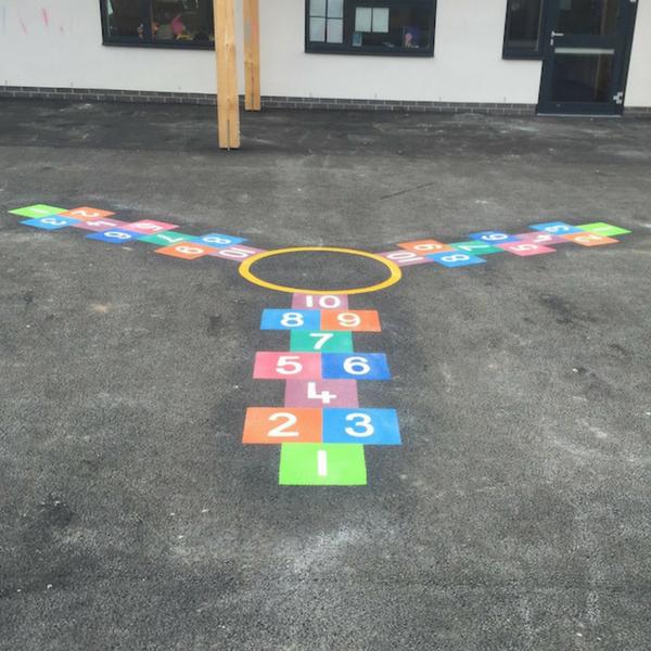 3 Way Hopscotch (using 300mm squares)