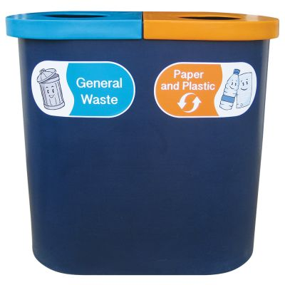 Popular Twin Bin with Recycling Graphics