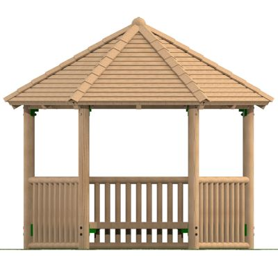 3m Hexagonal Timber Shelter with Seating and Balistrade Sides