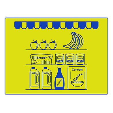 Grocers Shop Shelves Play Panel