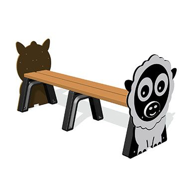 Farm Animal Bench 1.6m (various animal ends)