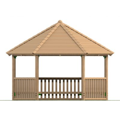 4m Hexagonal Timber Shelter with Seating and Balistrade Sides