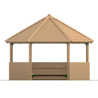 4m Hexagonal Timber Shelter with Seating and Half Clad Sides