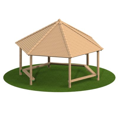 5m Hexagonal Timber Shelter with Seating