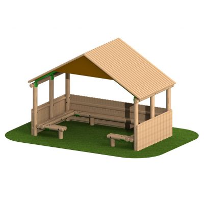 4m Timber Shelter with Seating and Half Clad Sides
