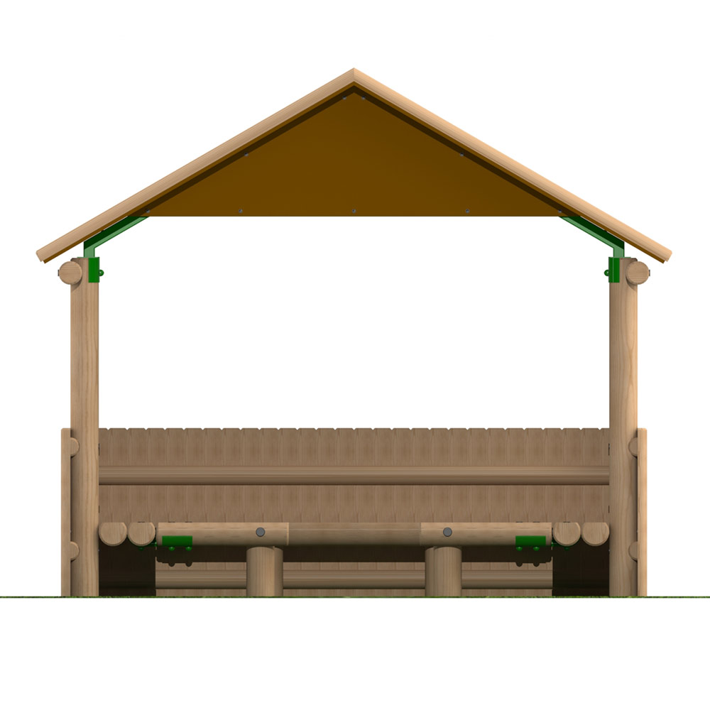 3m x 1.9m Timber Shelter with Seating and Half Clad Sides