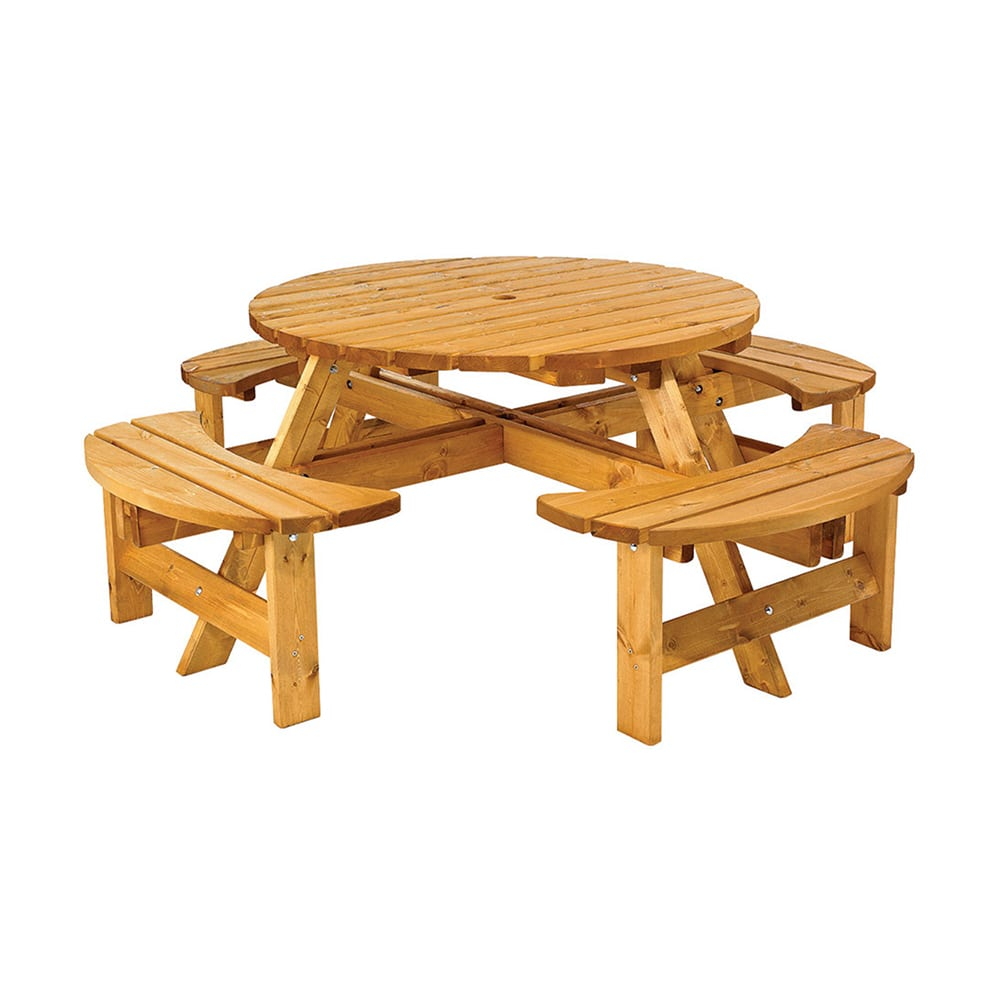 Cotswold Round Picnic Bench Seats - Picnic table seats 8
