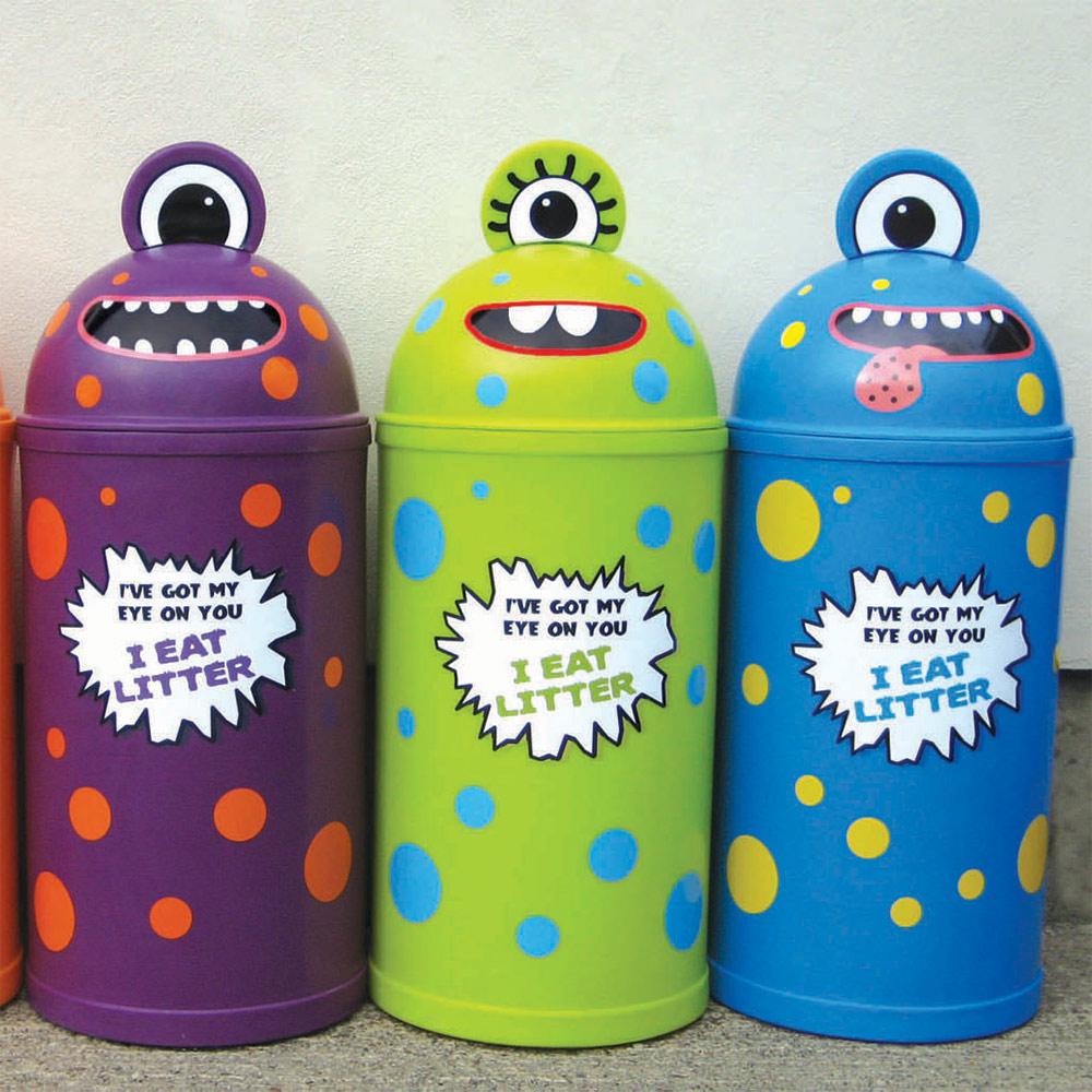 Small Monster Litter Bin - Set of Four