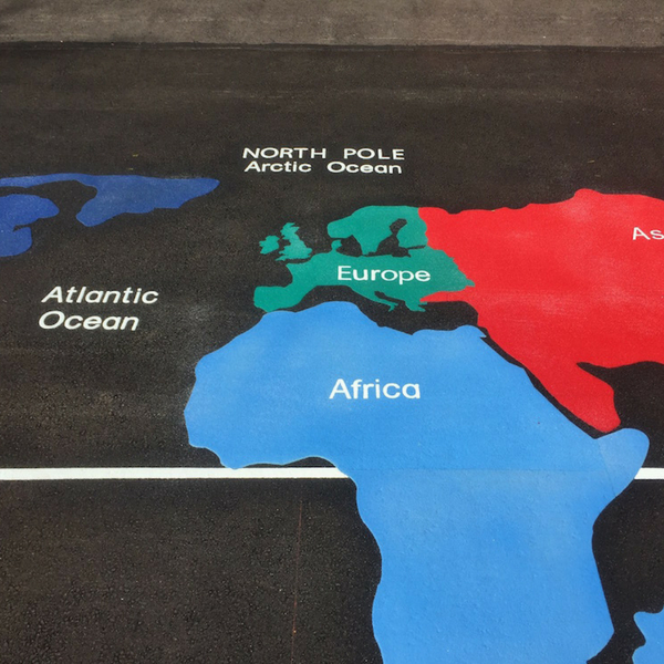 Large World Map with Continents Playground Markings