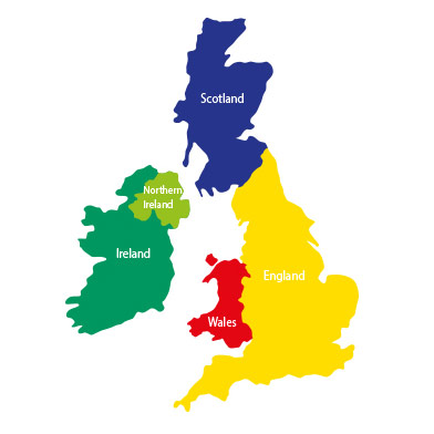 Small UK Map with Countries Playground Markings