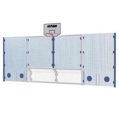 Senior 5 a side recess goal with basketball and 3m high side panels