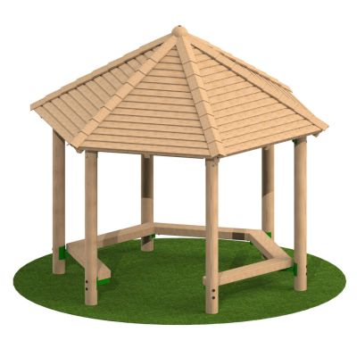 3m Hexagonal Timber Shelter with Seating