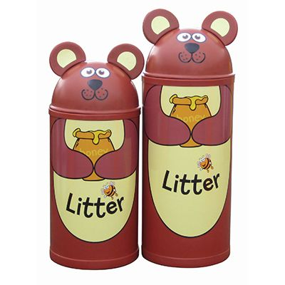 Large Bear Litter Bin