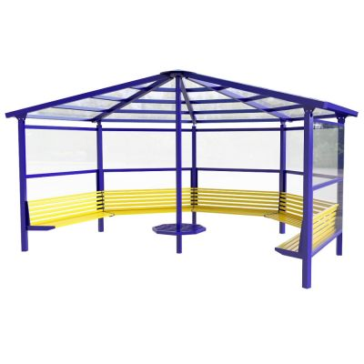 5 Sided Shelter with 5 Seats and Side Panels