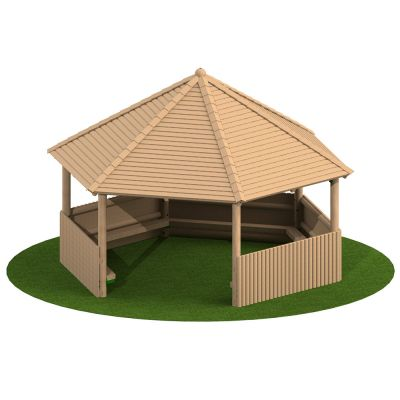 5m Hexagonal Timber Shelter with Seating and Half Clad Sides