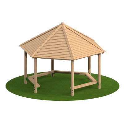 4m Hexagonal Timber Shelter with Seating